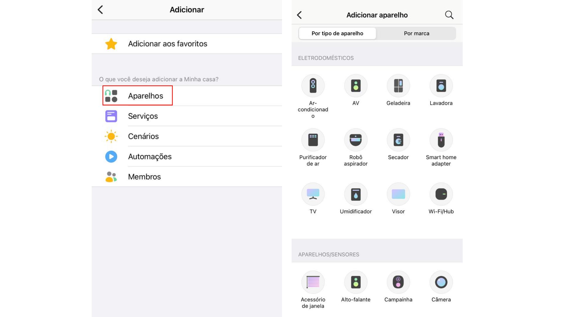 """Na tela """"Adicionar"""", selecione """"Aparelhos"""". Em seguida, escolha o dispositivo desejado. (Imagem: Captura de tela/Zoom)"""