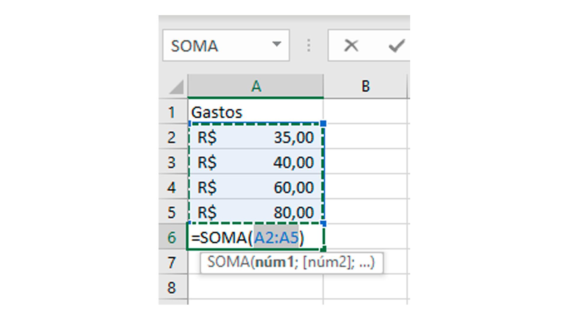 A fórmula para somar no Excel irá ser inserida reconhecendo o intervalo (Foto/Hugo Iwaasa)