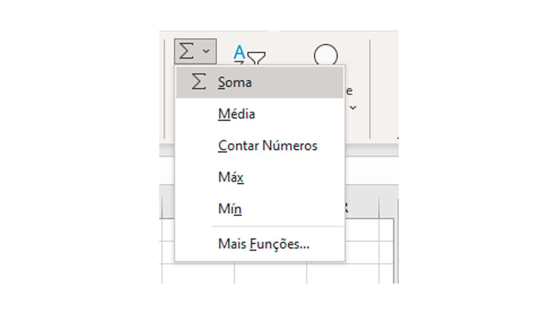 Clique sobre o botão para inserir a fórmula de soma no Excel (Foto/Hugo Iwaasa)