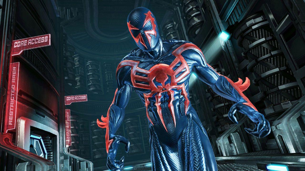 Spider-Man: Edge of Time permitiu que jogadores encarnassem mais uma vez Miguel O'Hara, o Spider-Man 2099 em um jogo do Homem-Aranha (Reprodução: Wallpaper's Den)
