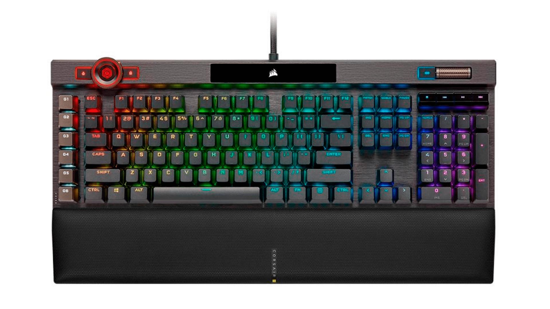 Lançamento no Brasil, o teclado Corsair K100 Optical RGB (Ch-912A014-Na) chama atenção (Foto: Divulgação/Corsair)