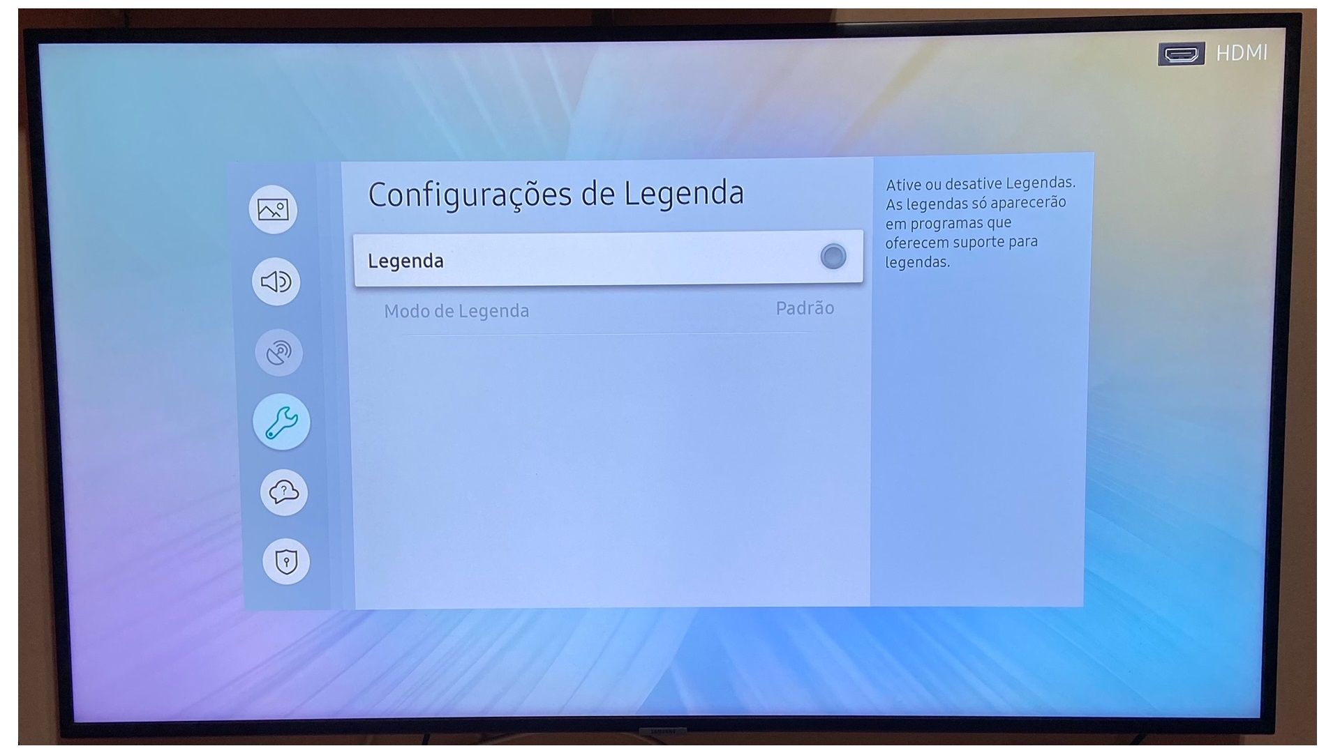 """Desative a legenda em """"Configurações de Legenda"""". (Imagem: Arquivo Pessoal/Dayane Barbosa)"""