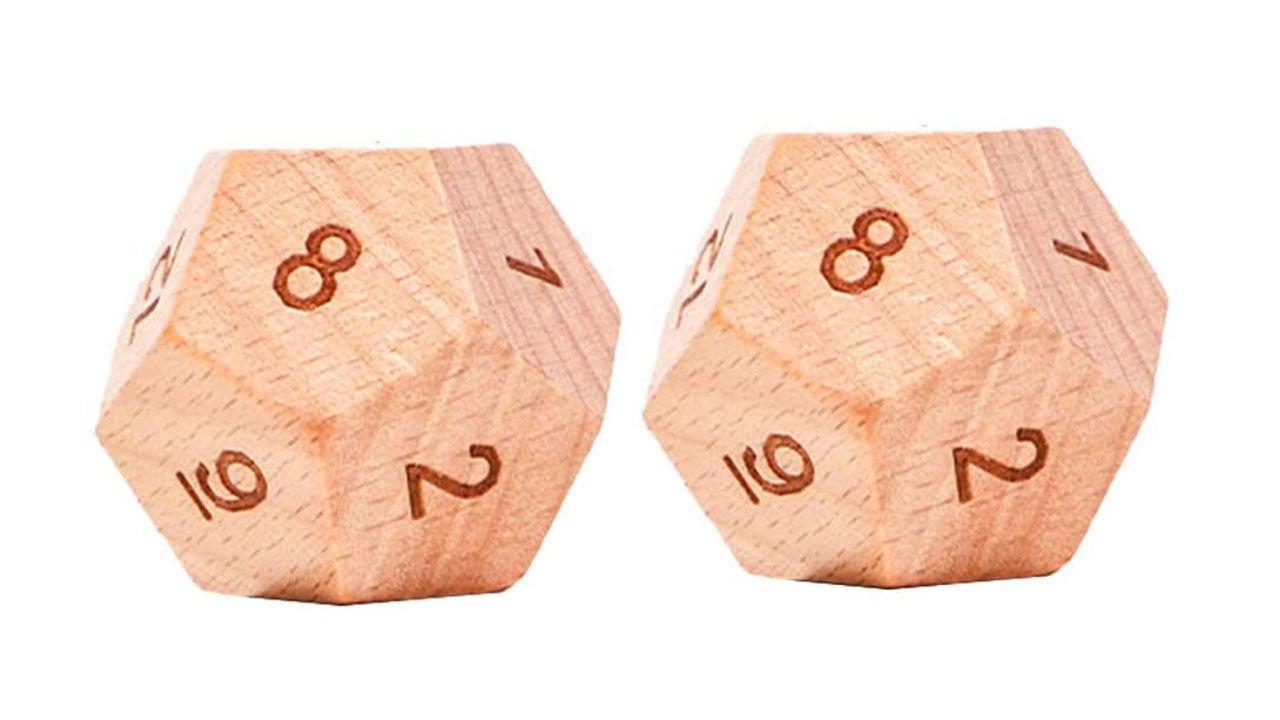 Os dados de madeira da Toyandona dão um toque elegante às rolagens (Reprodução: Amazon)