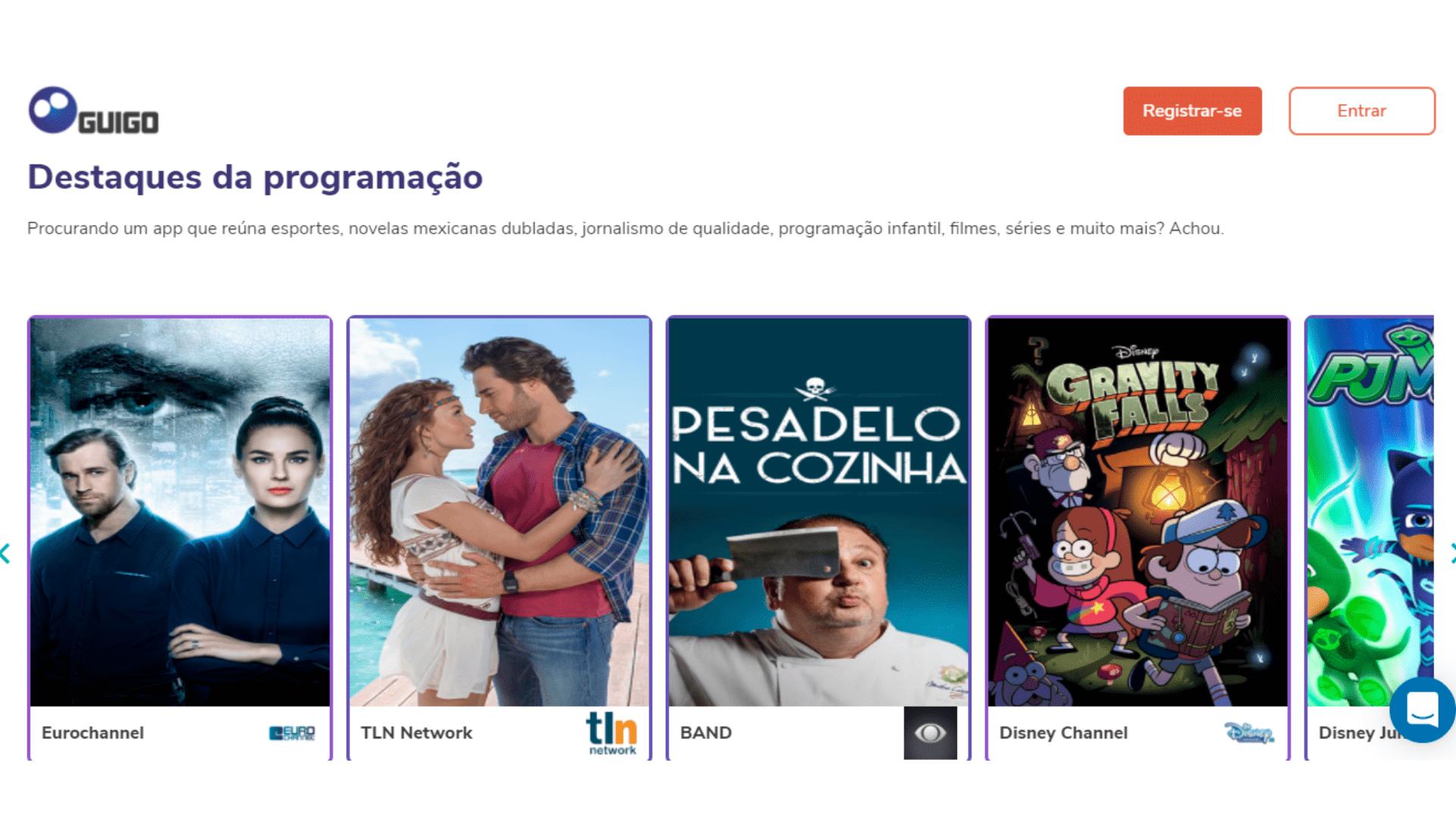Guigo TV chega com diferentes planos, incluindo um só para esportes e outro, para novelas. (Imagem: Captura de tela/Guigo TV)