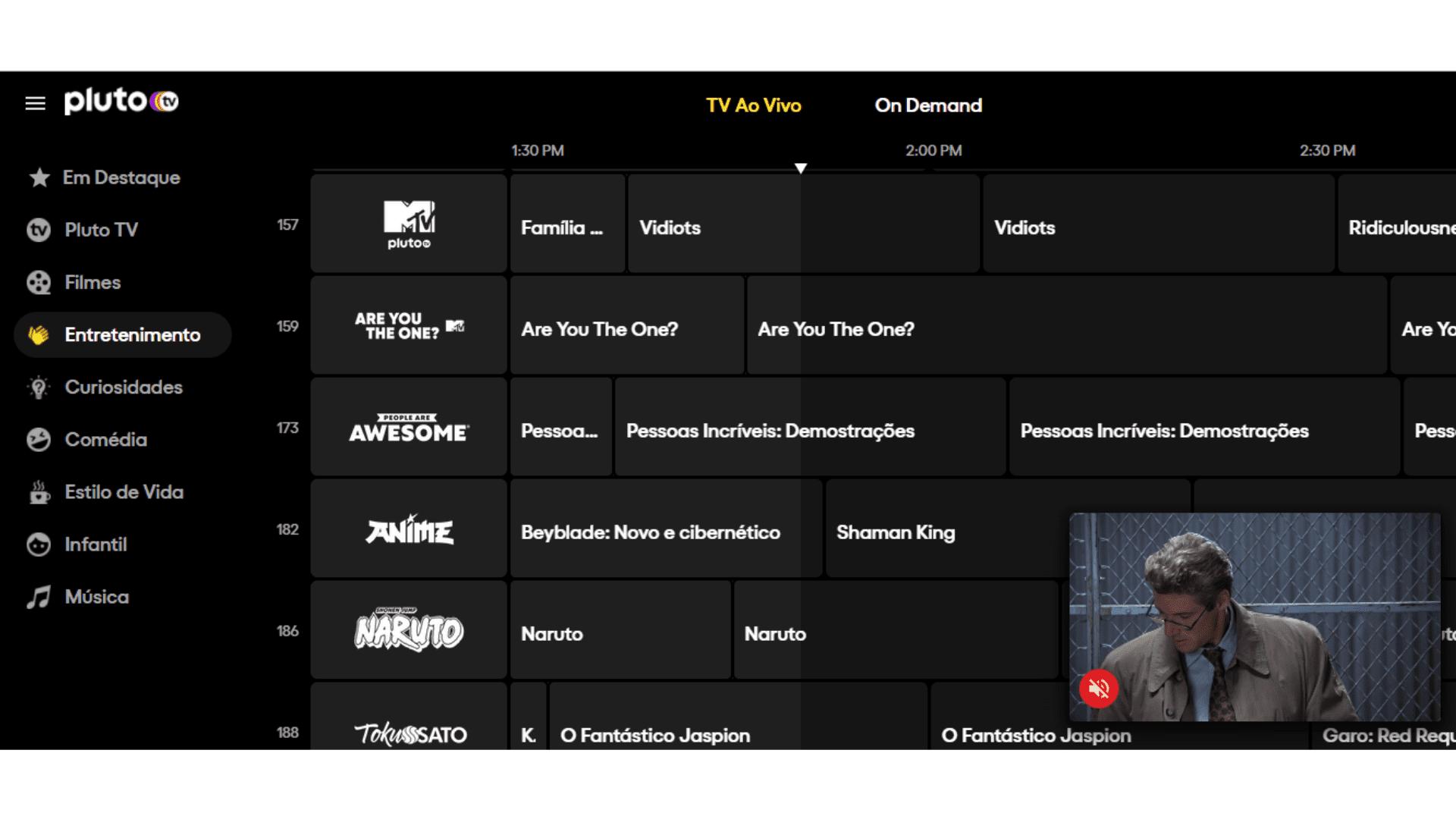 Pluto TV conta com canais exclusivos, MTV, Paramount+ e outros. (Imagem: Captura de tela/Pluto TV)