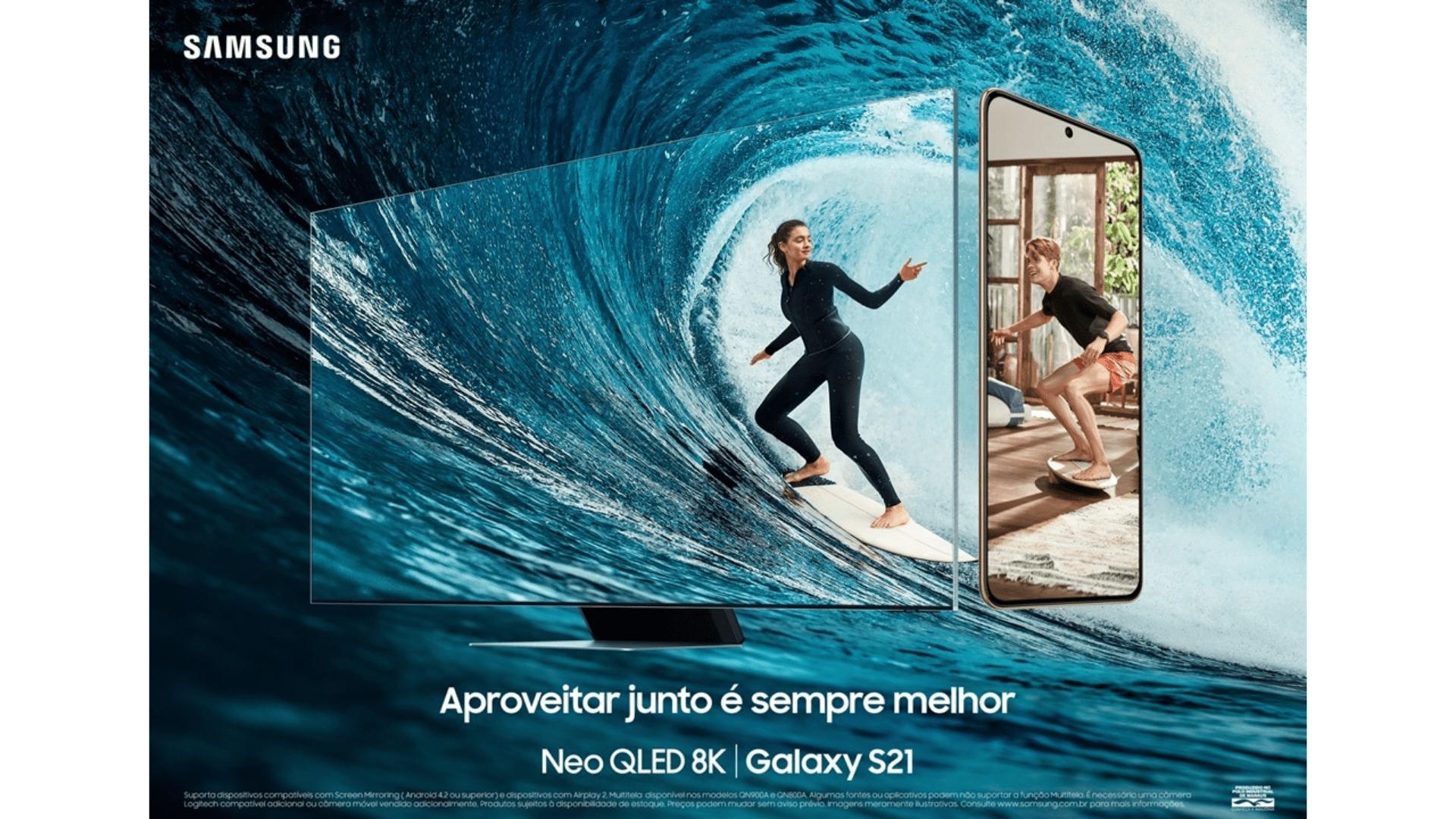 Samsung frisa a complementariedade das TVs Neo QLED 8K e o Galaxy S21. (Imagem: Divulgação/Samsung)