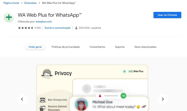 Para tirar o online no WhatsApp Web, é necessário baixar uma extensão específica (Foto: Reprodução/Zoom)