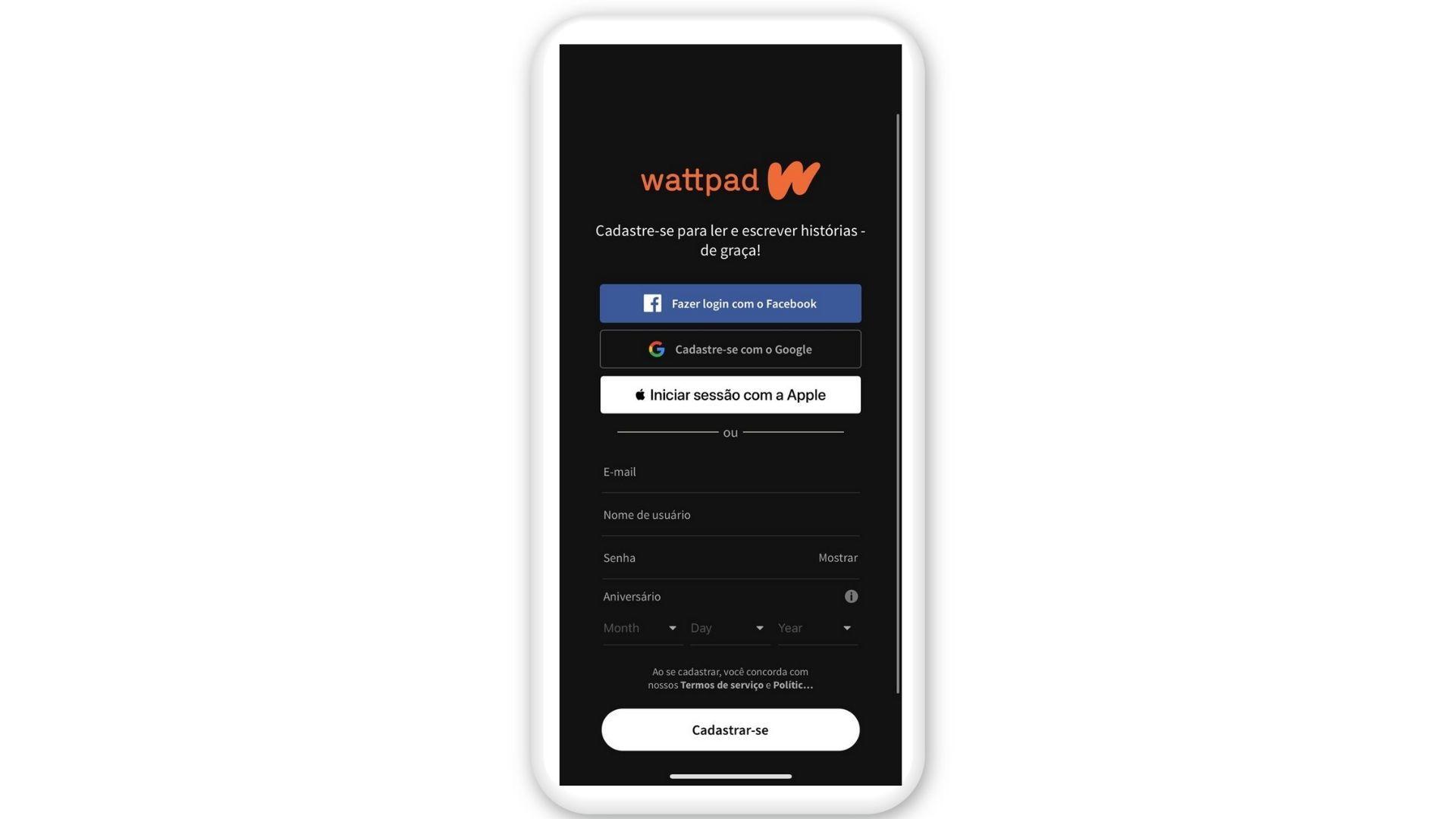 Você pode iniciar a sessão no Wattpad usando Facebook, Gmail, conta Apple ou fazendo cadastro (Reprodução)