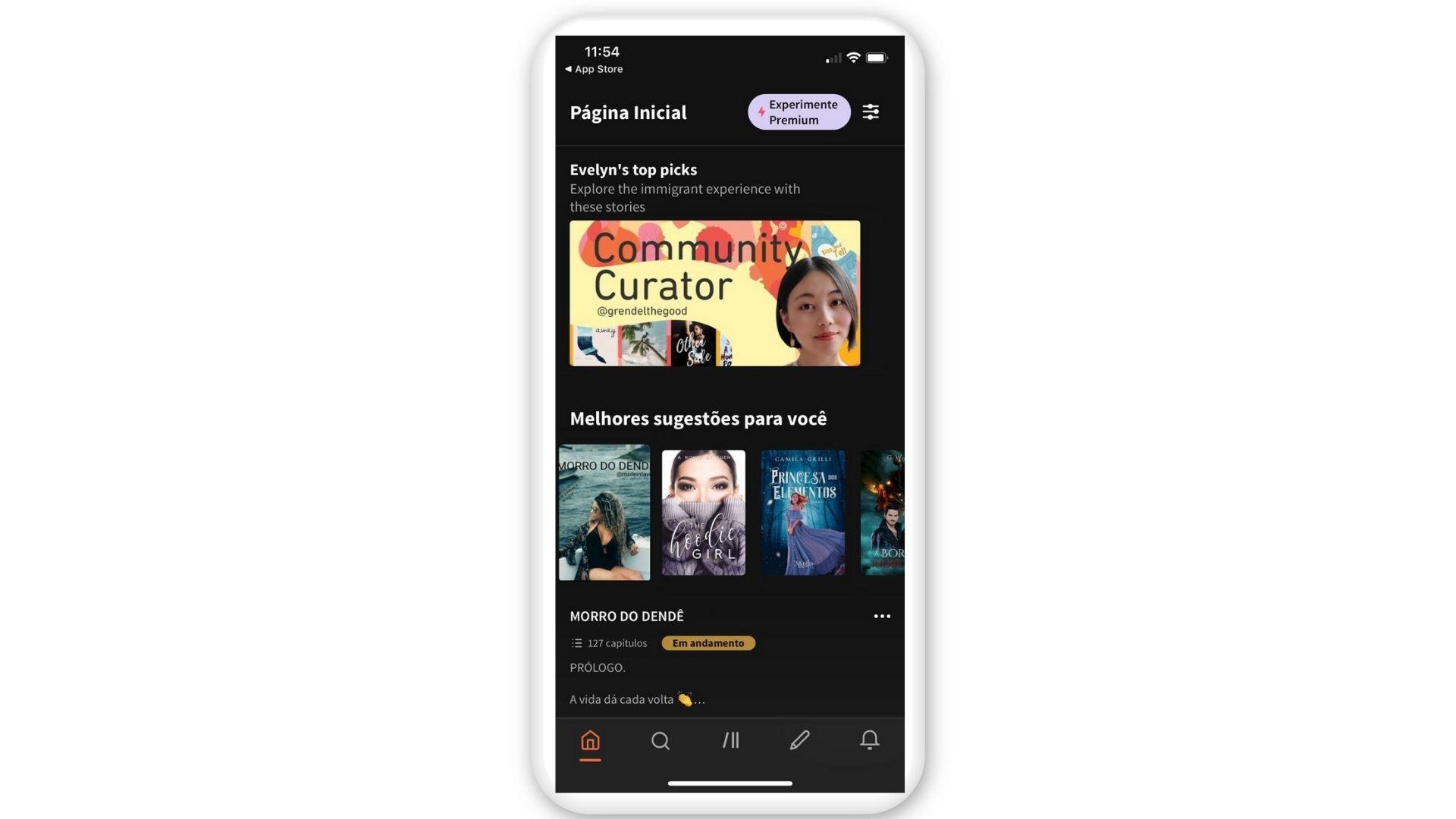 Tela inicial do Wattpad no iOS (Reprodução)