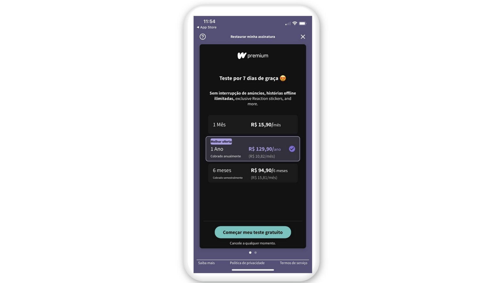 Tela do Wattpad Premium no iPhone (Reprodução)