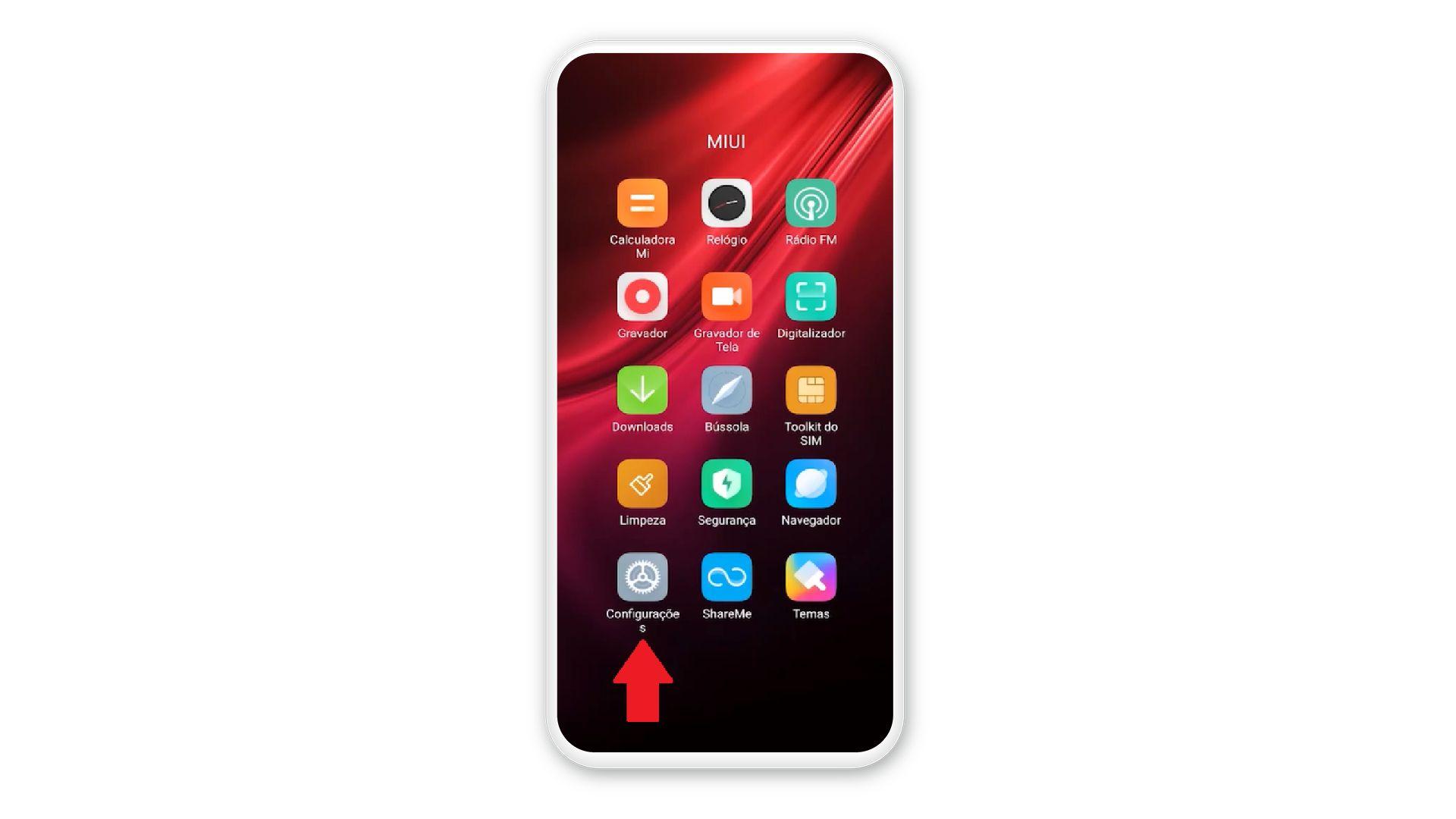 """Imagem mostra seta apontando para opção """"configurações"""" do celular Xiaomi"""