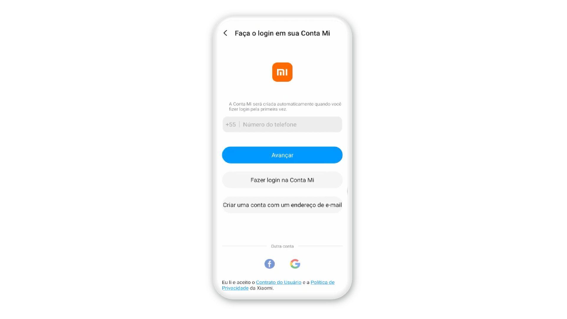 """Imagem mostra etapa em que é necessário colocar o número de celular no aplicativo """"Mi Conta"""""""
