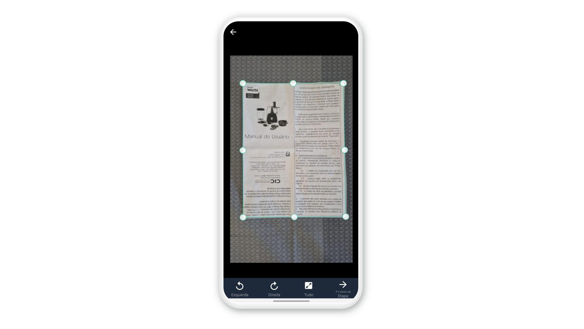 Selecione o espaço que deve ser digitalizado pelo CamScanner (Foto: Reprodução)