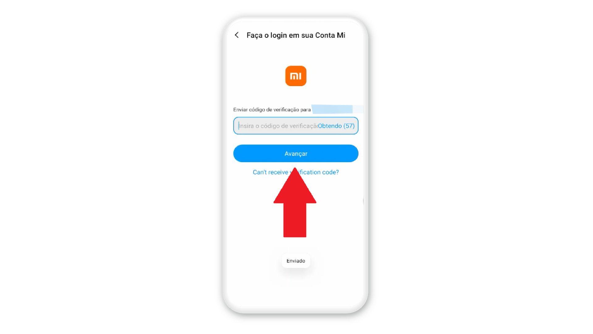 Após digitar o número de celular, é necessário digitar o código de verificação