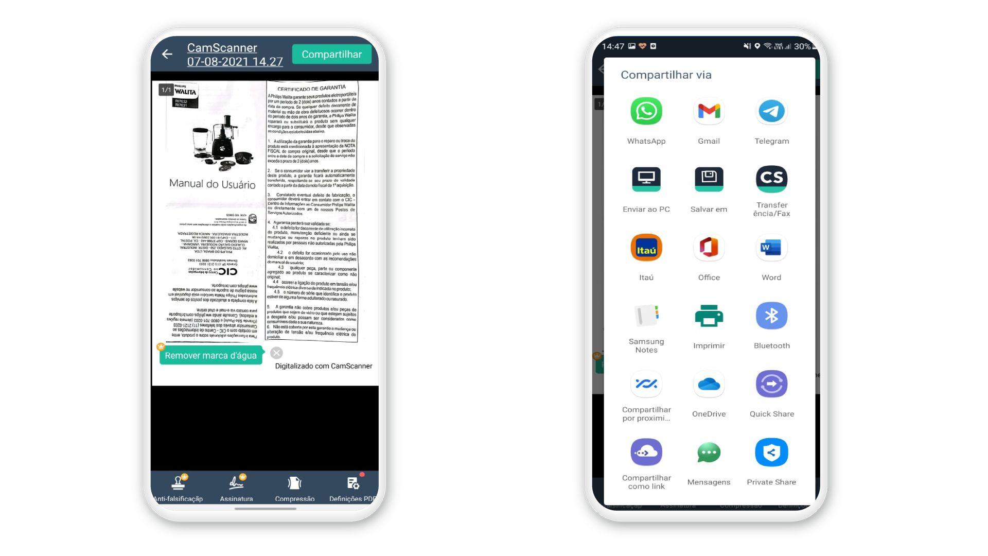 Escolha qual aplicativo seu smartphone vai conectar com o CamScanner (Foto: Reprodução)