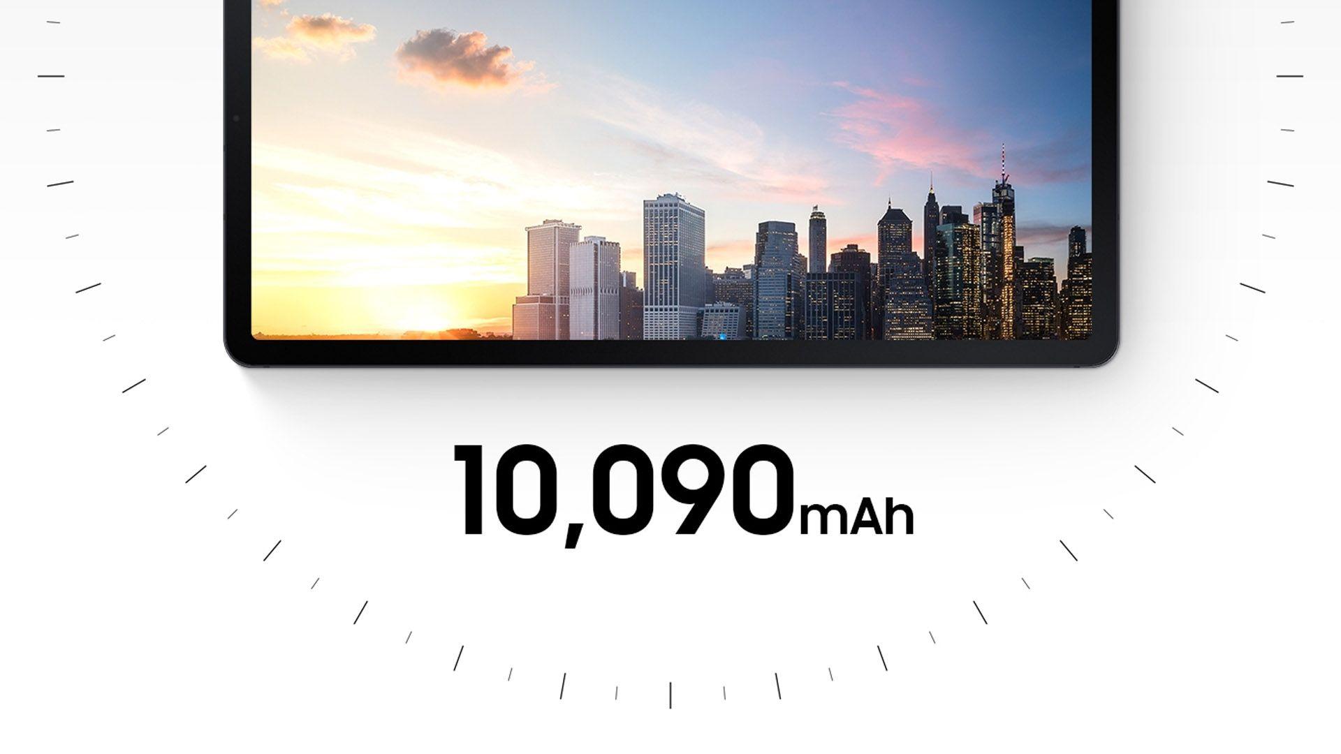 Samsung Galaxy S7 FE com medidor de bateria em fundo branco
