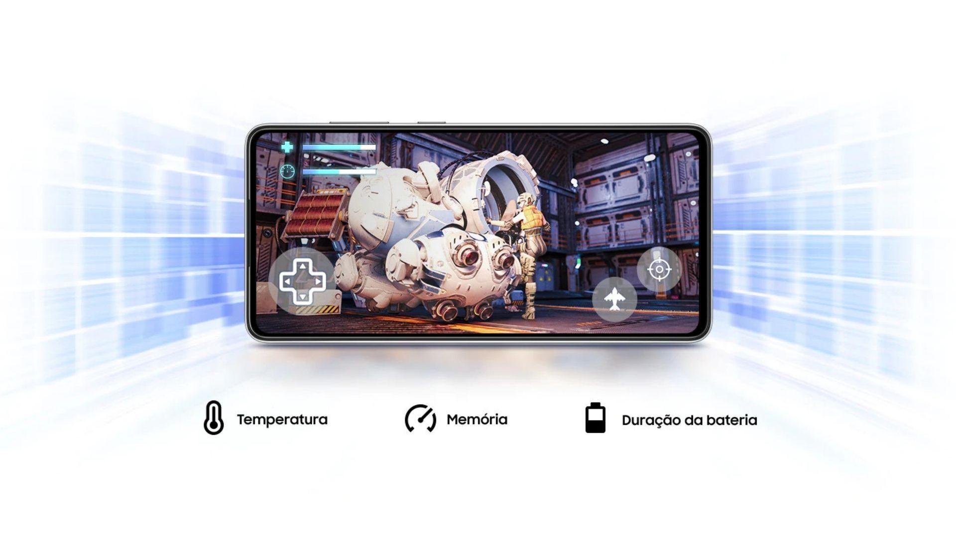 Parte frontal do A72 exibindo um jogo e um infográfico destacando temperatura, memória e duração da bateria
