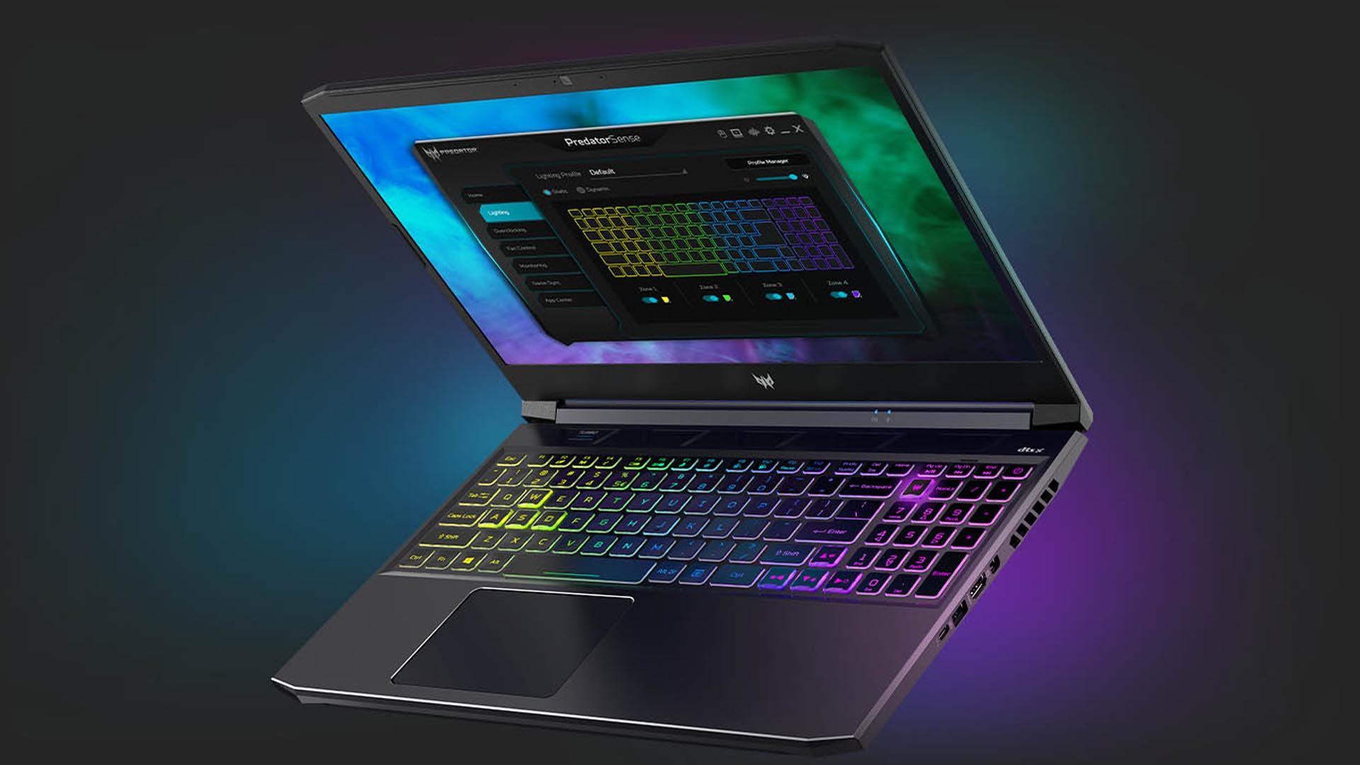 Acer Predator Helios 300 meio aberto com teclado com retroiluminação