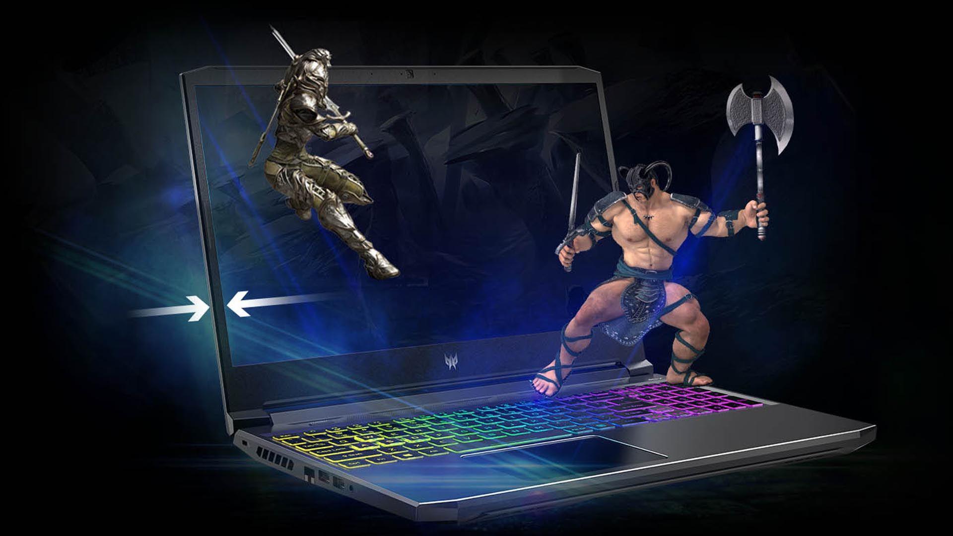 Dois personagens de de jogos batalhando no Acer Predator Helios 300