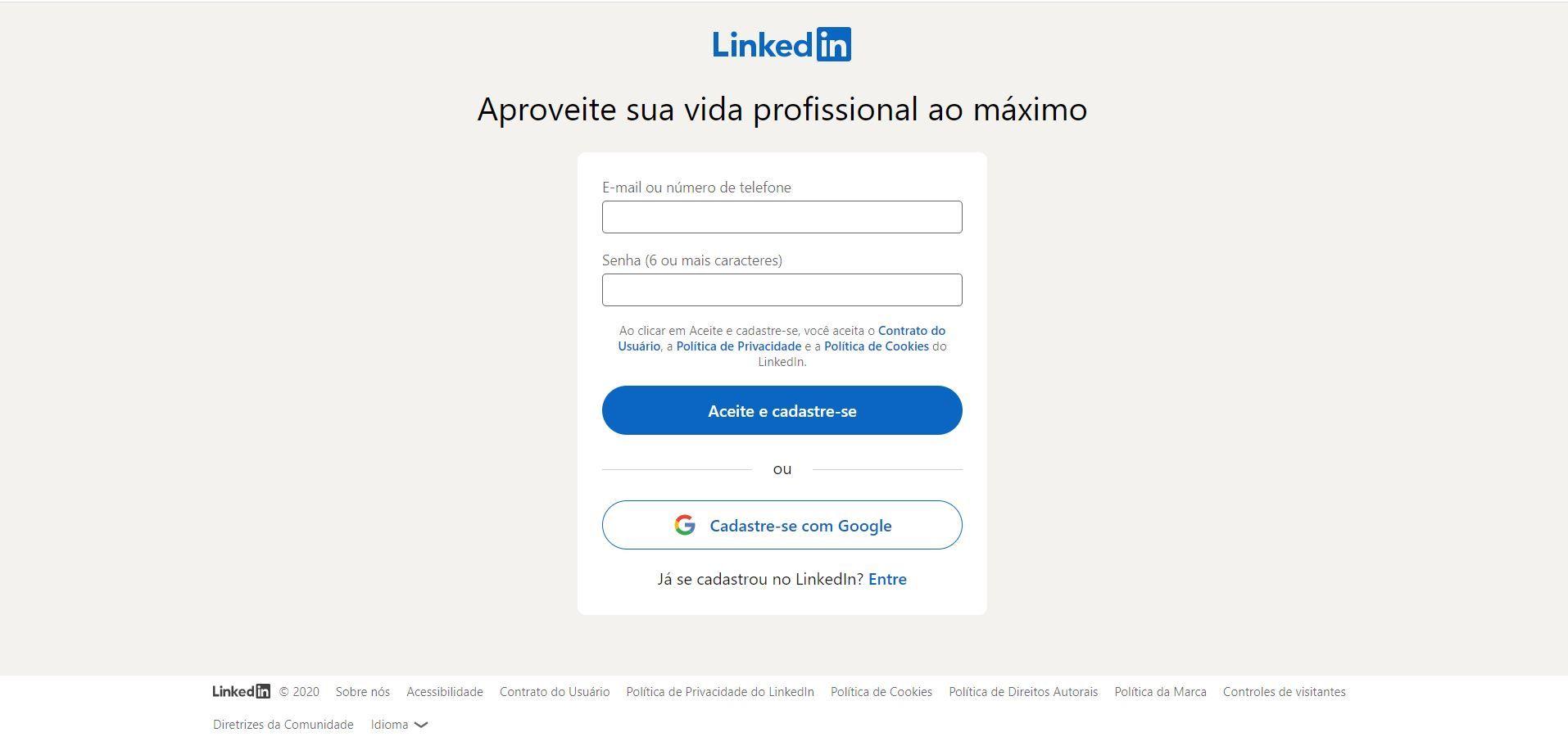 Preencha os campos para criar seu perfil no LinkedIn (Foto: Reprodução)
