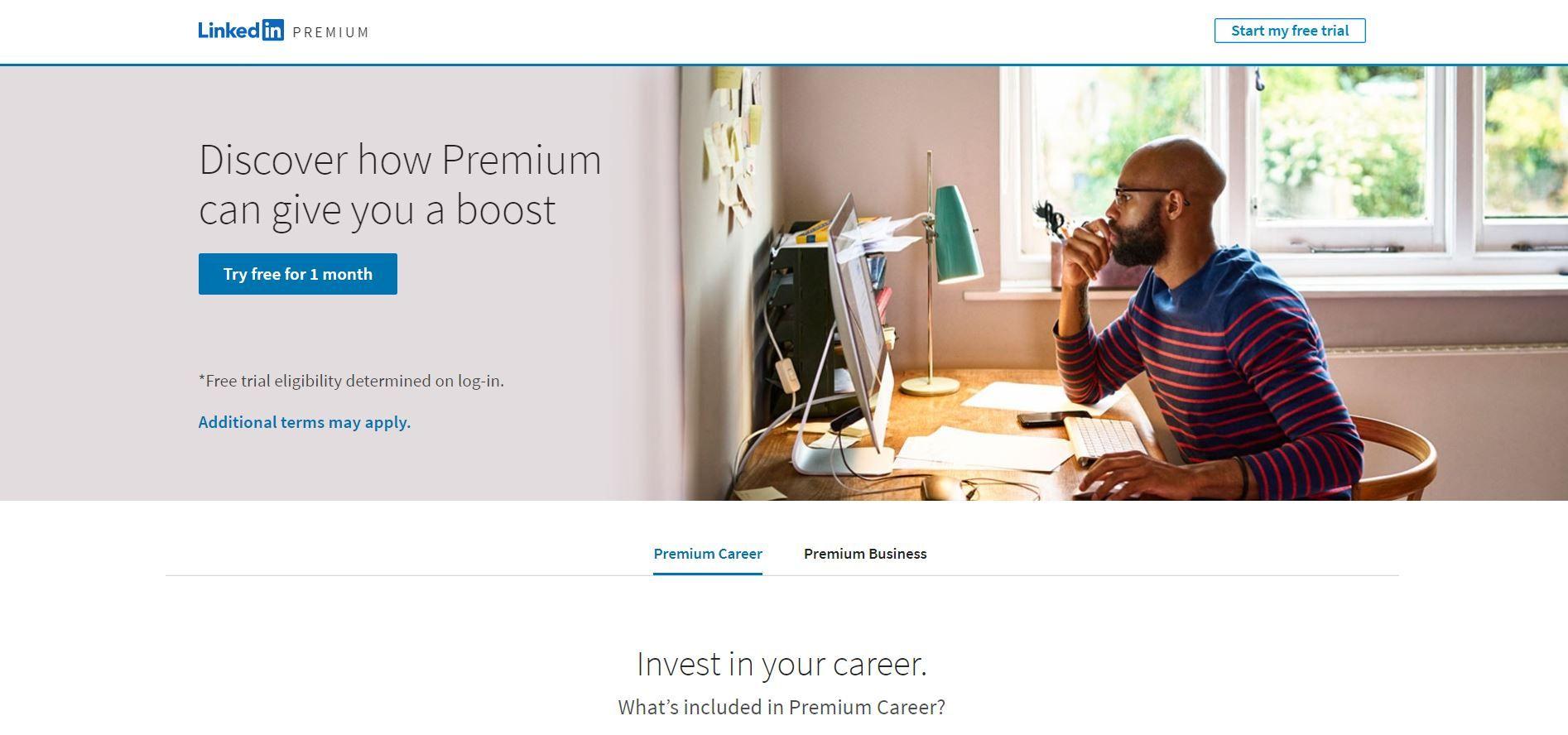 O LinkedIn Premium é um serviço por assinatura que potencializa os recursos da plataforma (Foto: Reprodução)