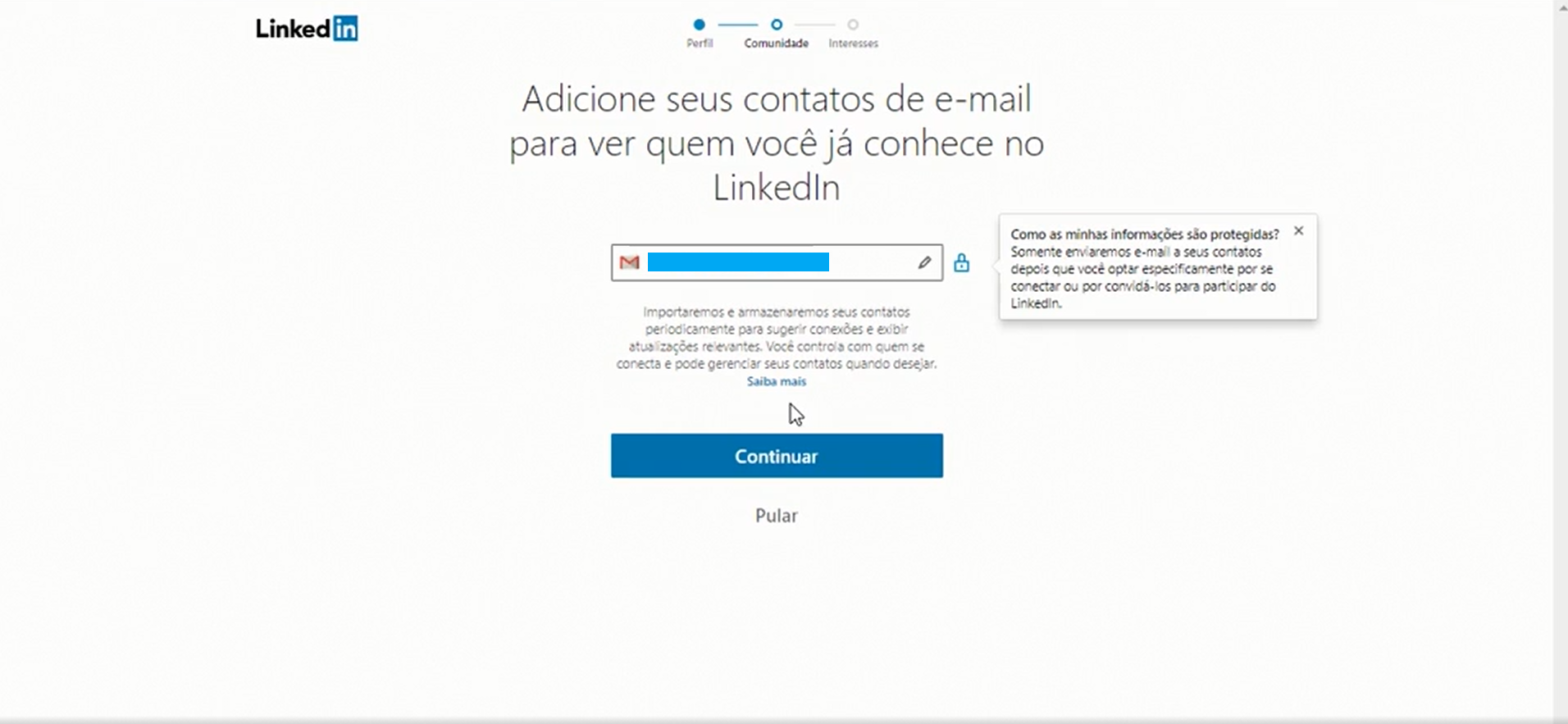 Você pode adicionar os contatos registrados no seu e-mail ao LinkedIn durante a criação do seu perfil (Foto: Reprodução)