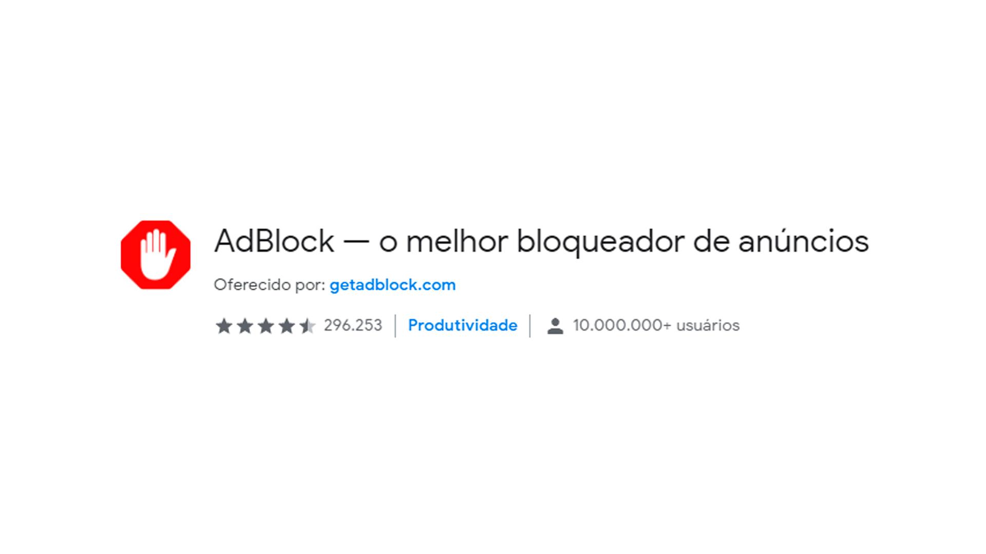 Foto mostra ícone do aplicativo AdBlock para Chrome Web Store