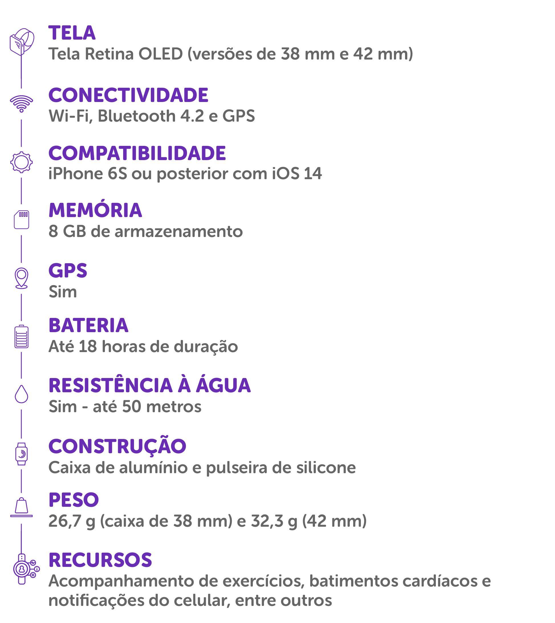 Ficha técnica e especificações do Apple Watch 3