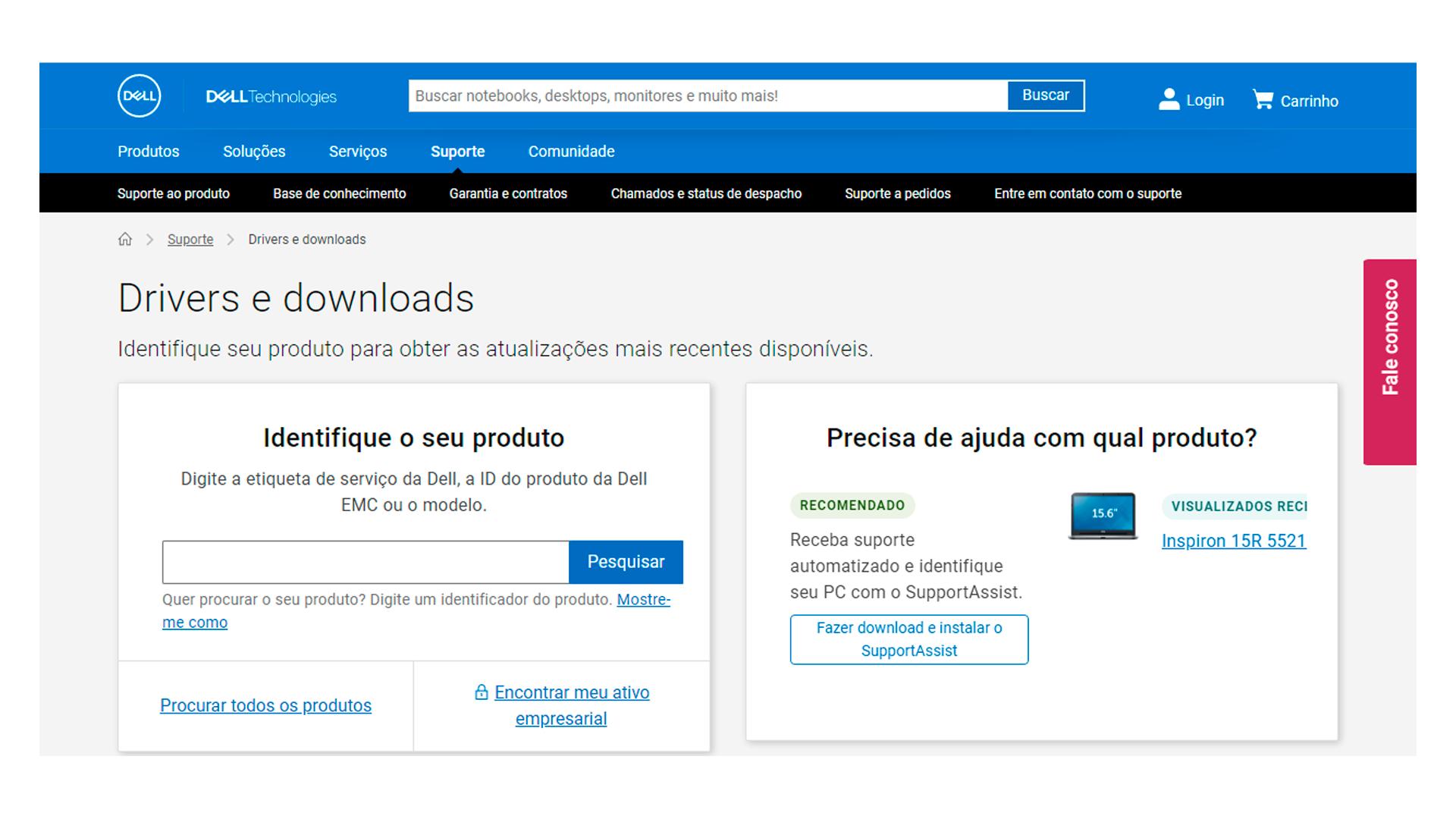 Pront do menu do aplicativo drivers Dell