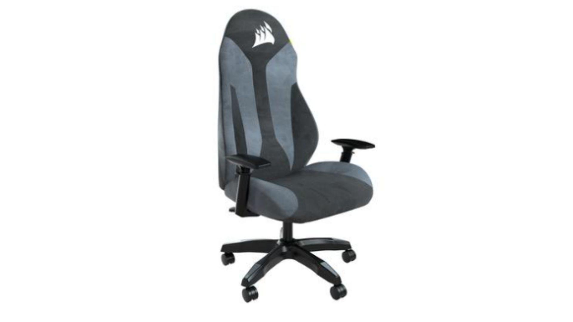 Cadeira gamer de tecido Corsair TC60 Fabric com detalhes em cinza e preto em fundo branco.