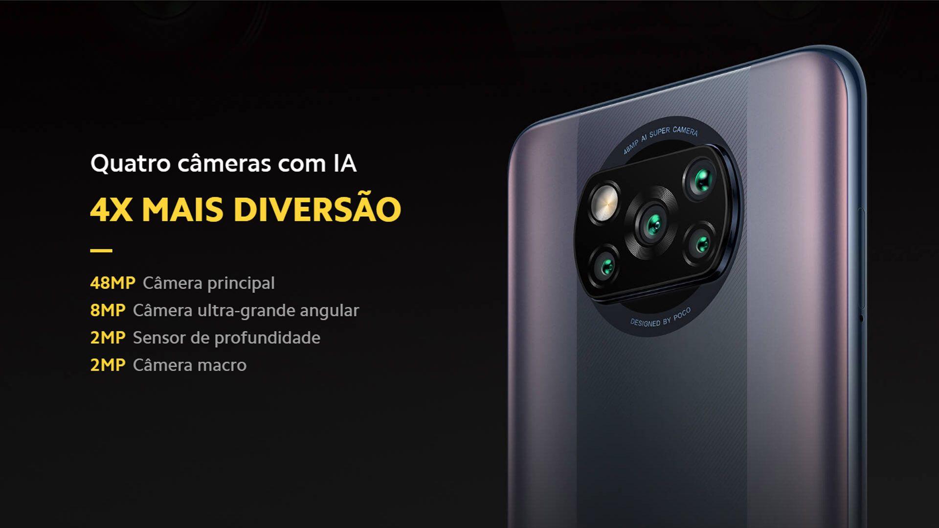 Parte traseira do Poco X3 Pro com infográfico sobre câmeras