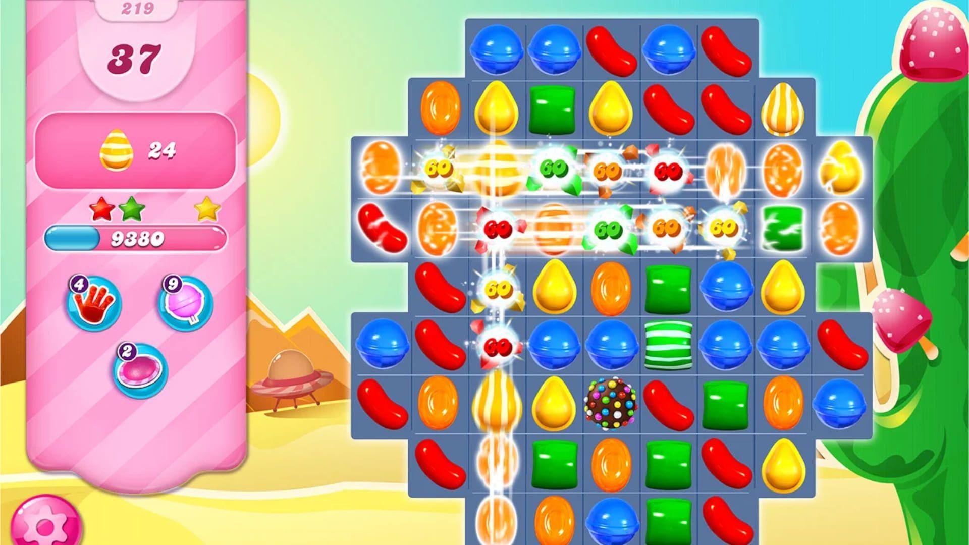 Print do jogo Candy Crush com balas coloridas em destaque