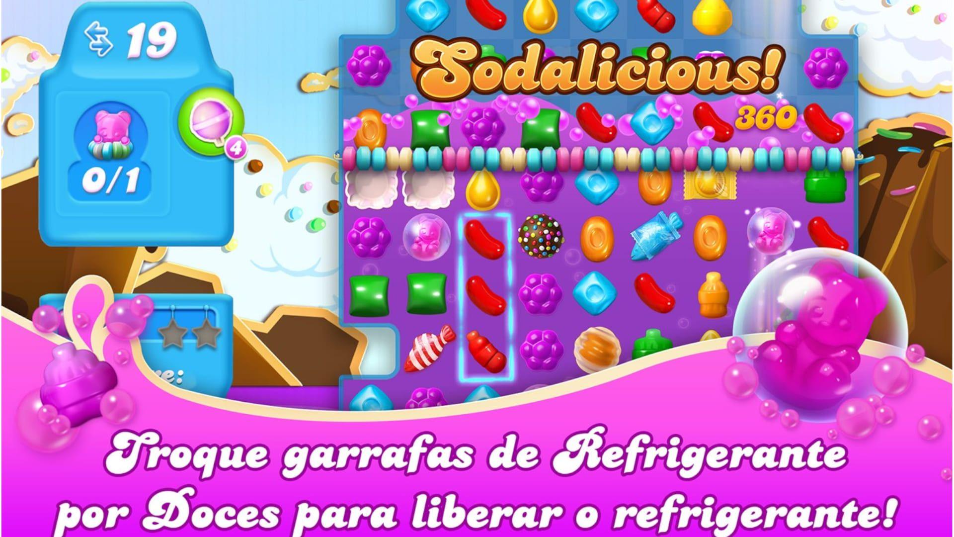 """Print do jogo Candy Crush escrito """"Sodalicious"""""""