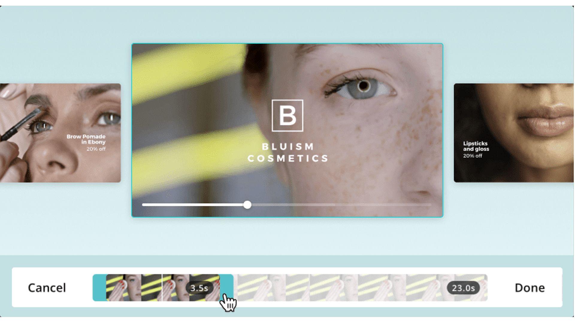 Captura de tela do editor de vídeo online Canva