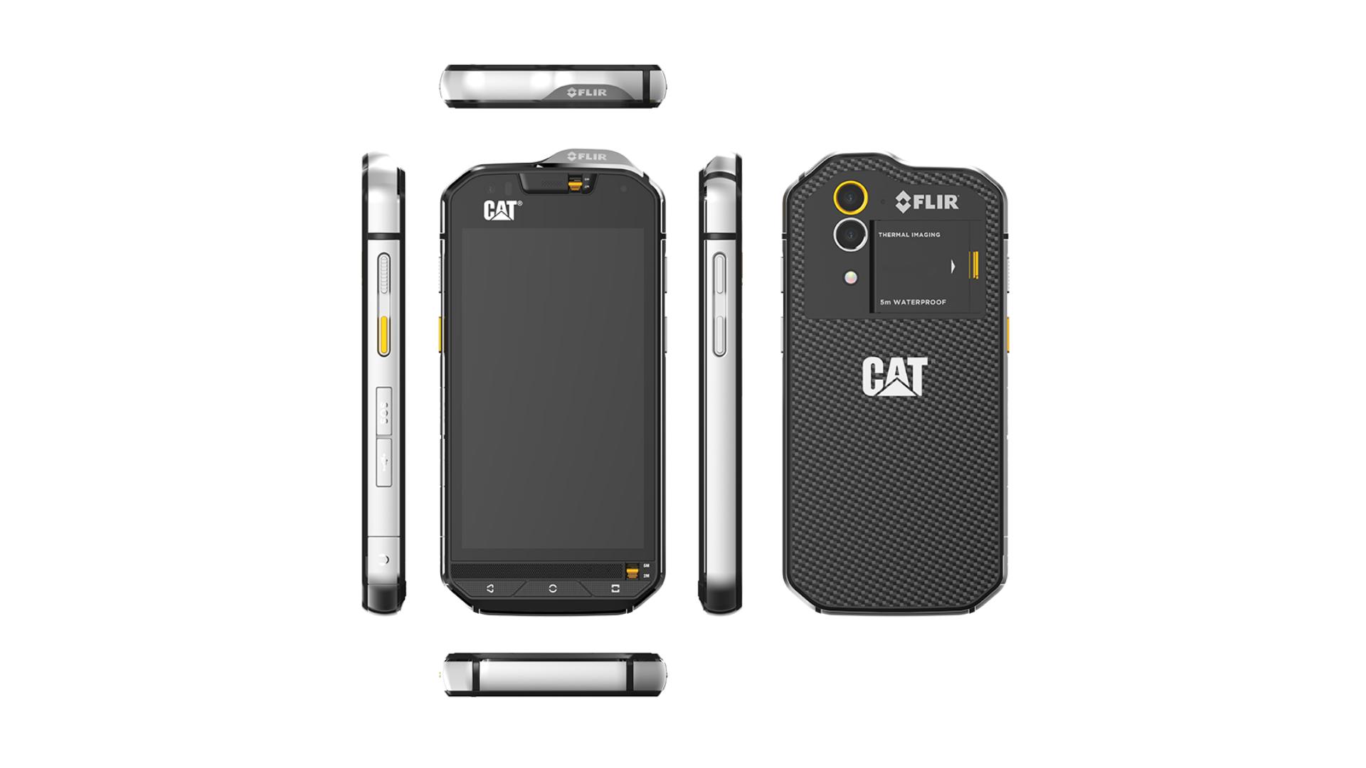 Colagem evidenciando todas as partes (traseira, laterais etc) do celular Caterpillar S60 em fundo branco.