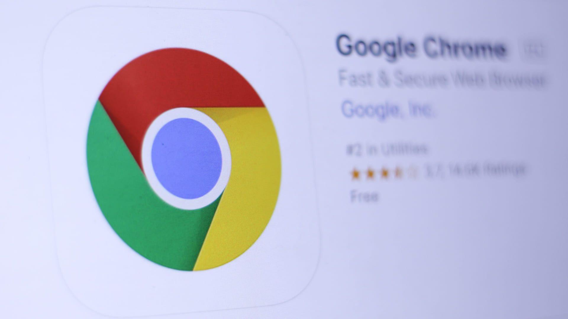 Foto mostra página do aplicativo do Chrome para Android