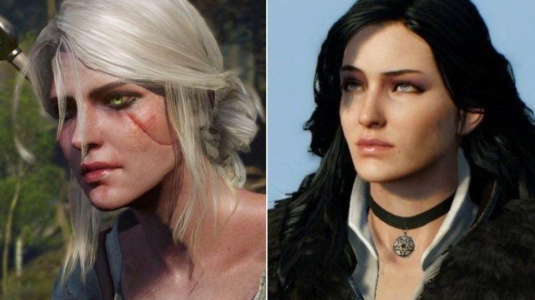 Montagem com versões de Ciri e Yennefer no game The Witcher 3: à esquerda, Ciri com sua cicatriz no rosto olhos verdes e cabelo branco; à direita, Yennefer com suas roupas pretas e brancas, olhos azuis e cabelos negros