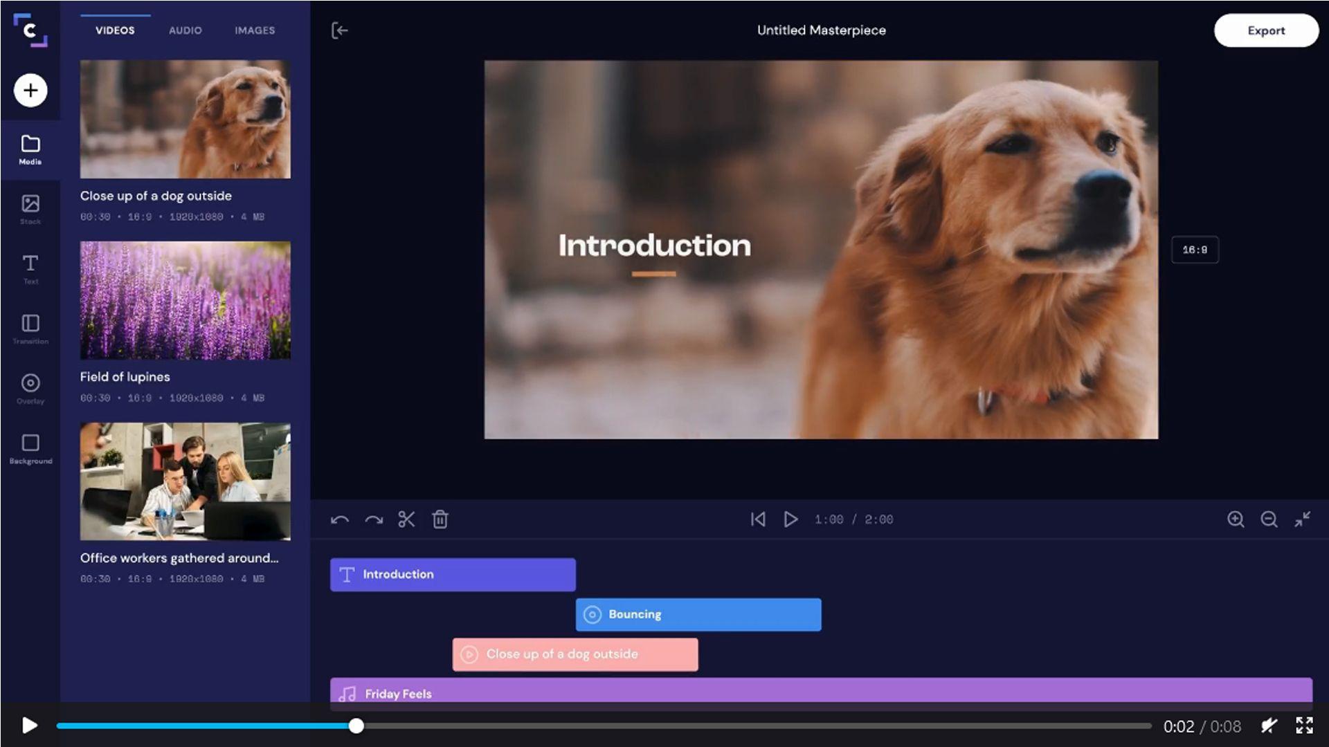 Captura de tela do ClipChamp que mostra um vídeo sendo editado