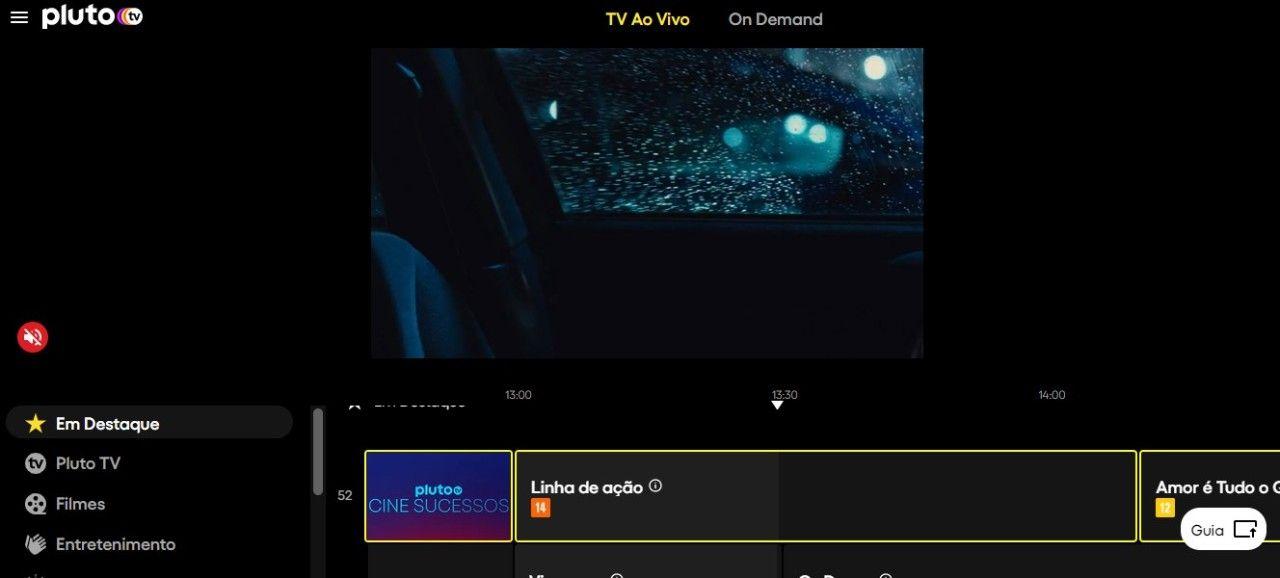 A Pluto.tv conta com canais temáticos e até mesmo conteúdo On Demand para assistir quando quiser (Fonte: Reprodução/Filipe Salles)