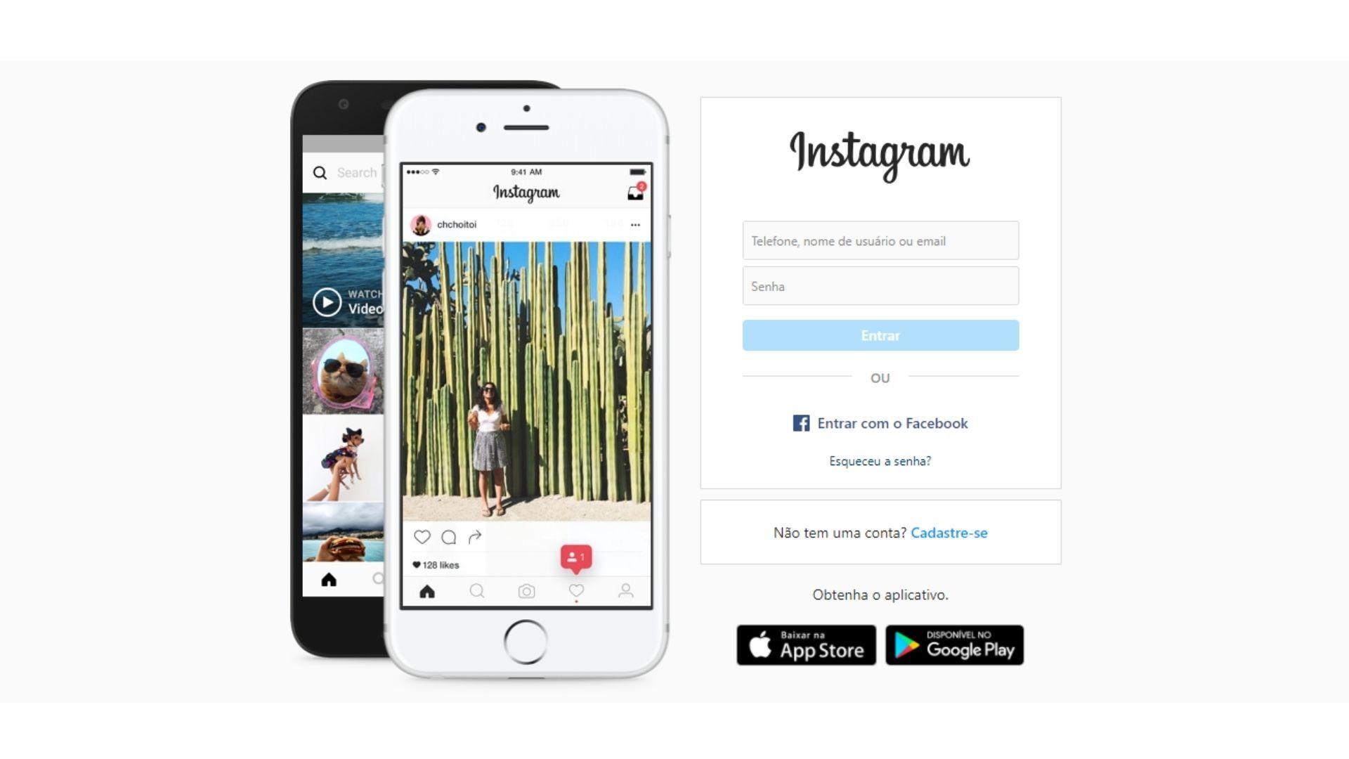 Tela inicial do Instagram Web