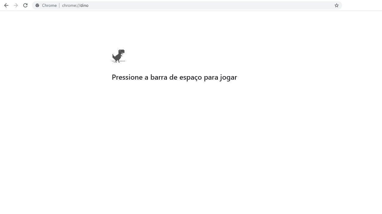 """Se sua internet estiver funcionando, o Jogo do Dinossauro do Google Chrome pode ser acessado pelo endereço """"chrome://dino/"""" sem aspas (Reprodução: Redação Zoom)"""