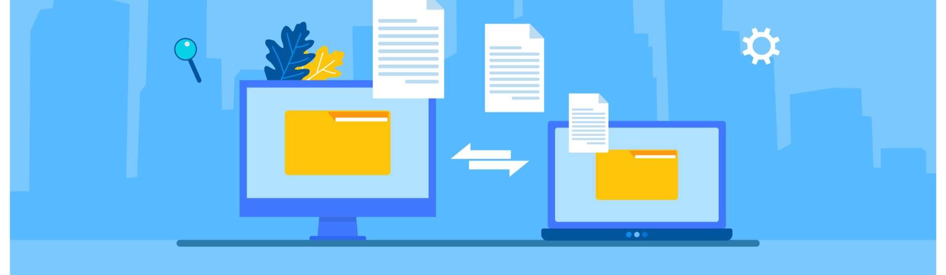 Ilustração de fundo azul claro com um notebook a passar arquivos para outro