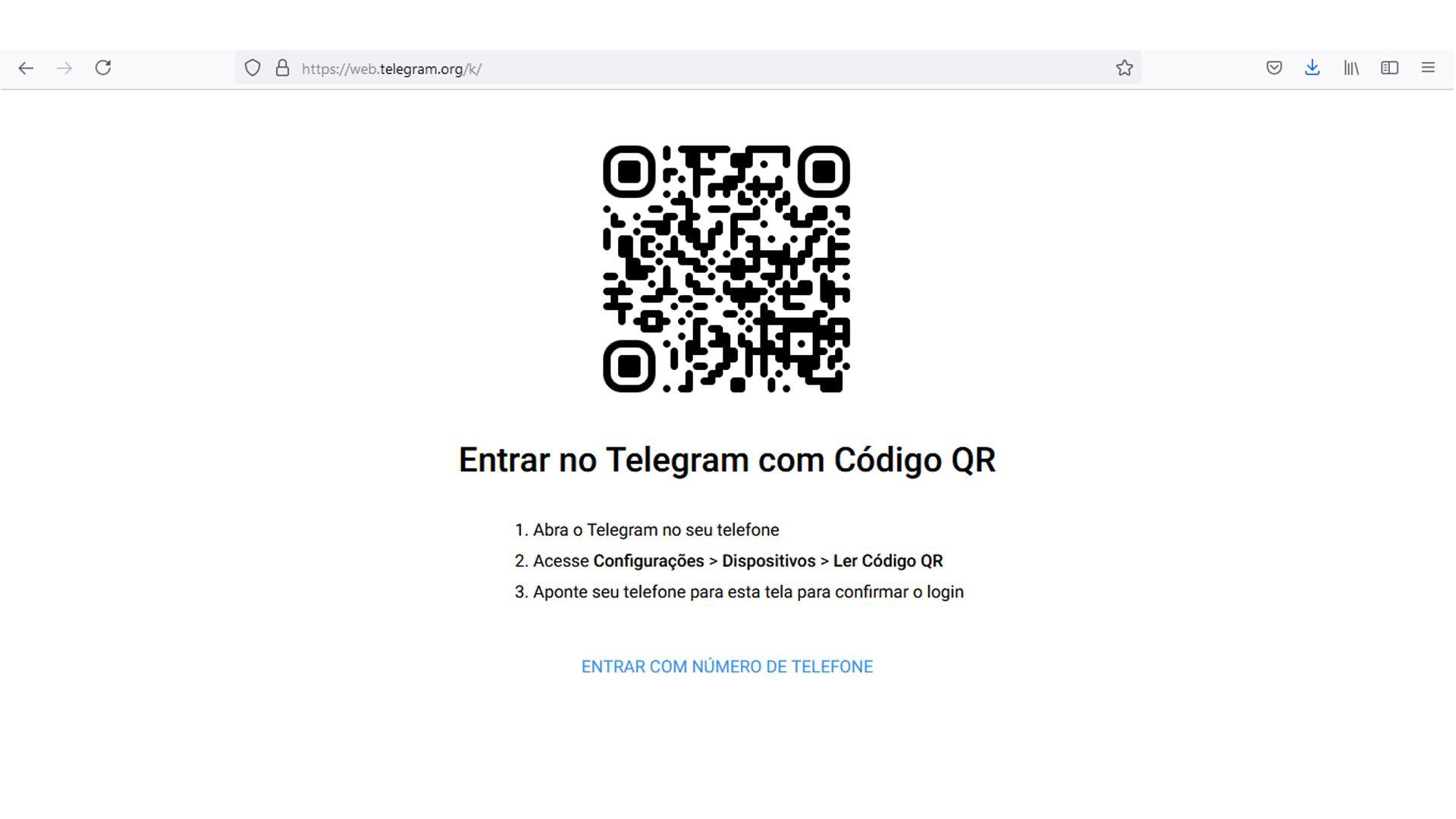 Informe seu número de telefone para receber o código de acesso ou use QRcode. (Fonte: Redação)