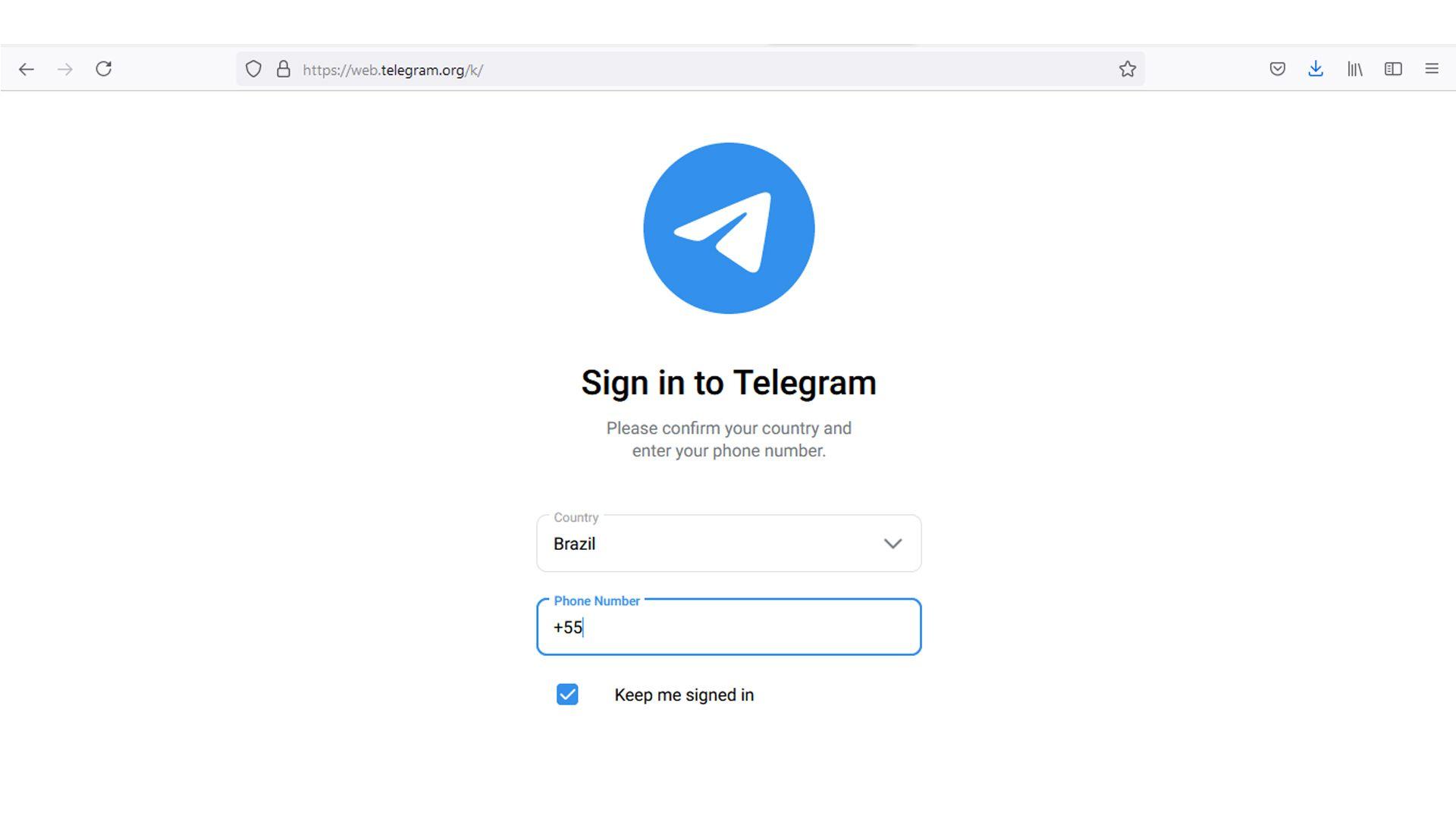 O código é enviado pelo aplicativo do Telegram no seu celular. (Fonte: Redação)