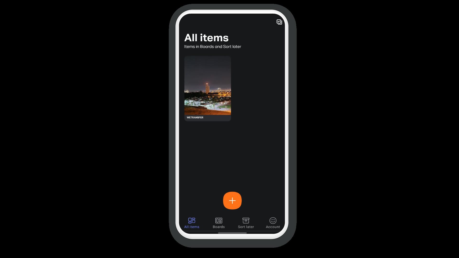Pasta do WeTransfer com os arquivos selecionados na galeria pessoal do celular.