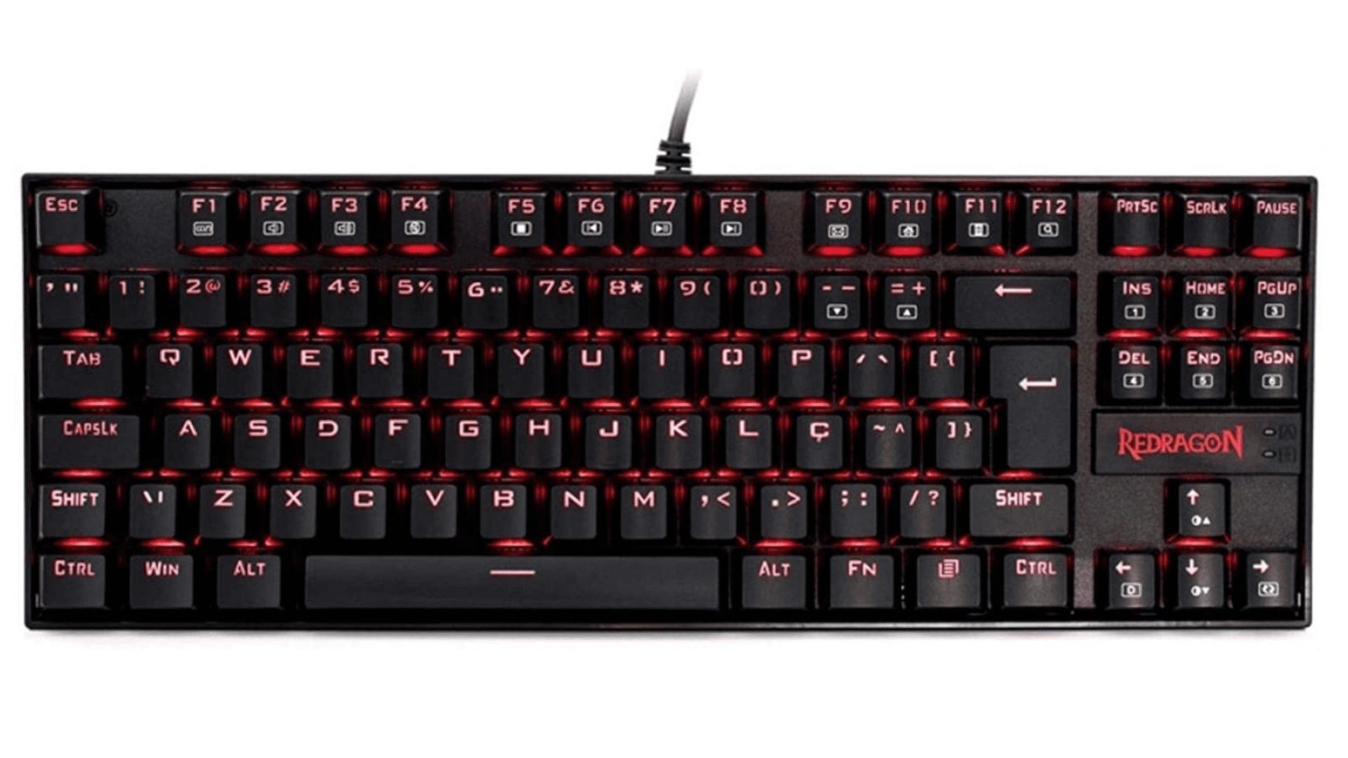 O teclado gamer mecânico barato Kumara K552-2 tem opções com switches diferentes para escolher o seu predileto (Foto: Divulgação/Redragon)