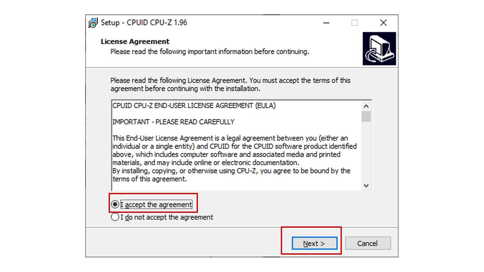 Foto mostra termo de condições e uso do CPU-Z