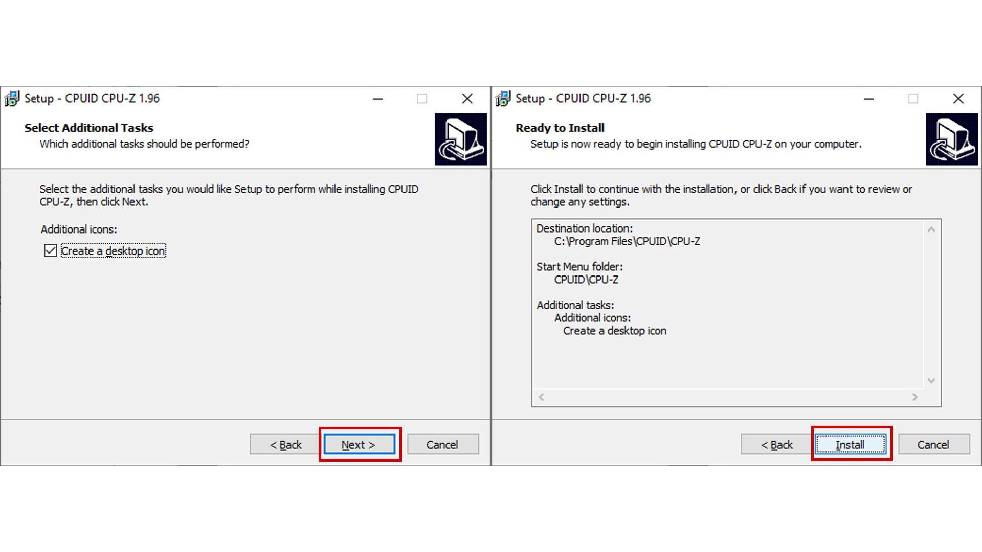 Lembre de escolher em que pasta você quer instalar o programa e se quer um atalho na área de trabalho (Imagem: Reprodução/CPU-Z)