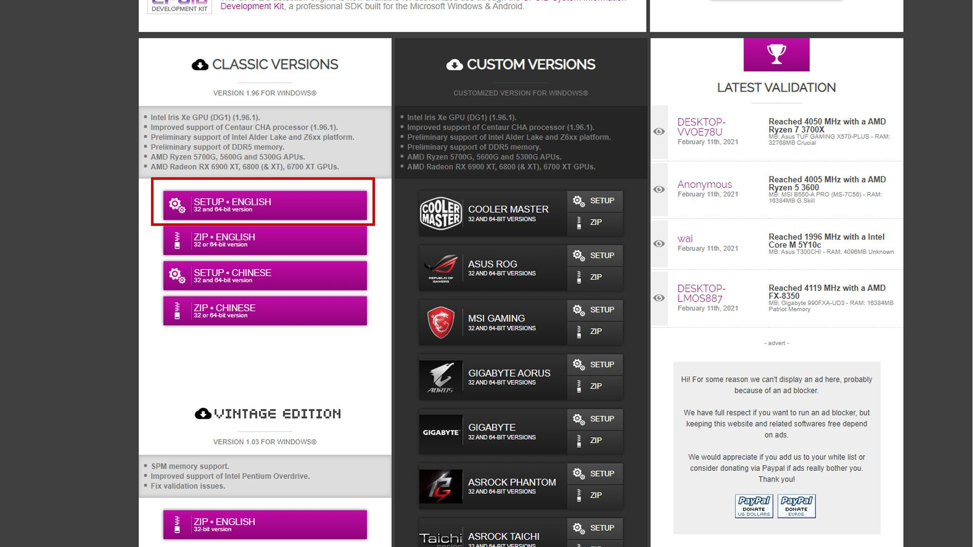 Foto mostra página do CPU-Z