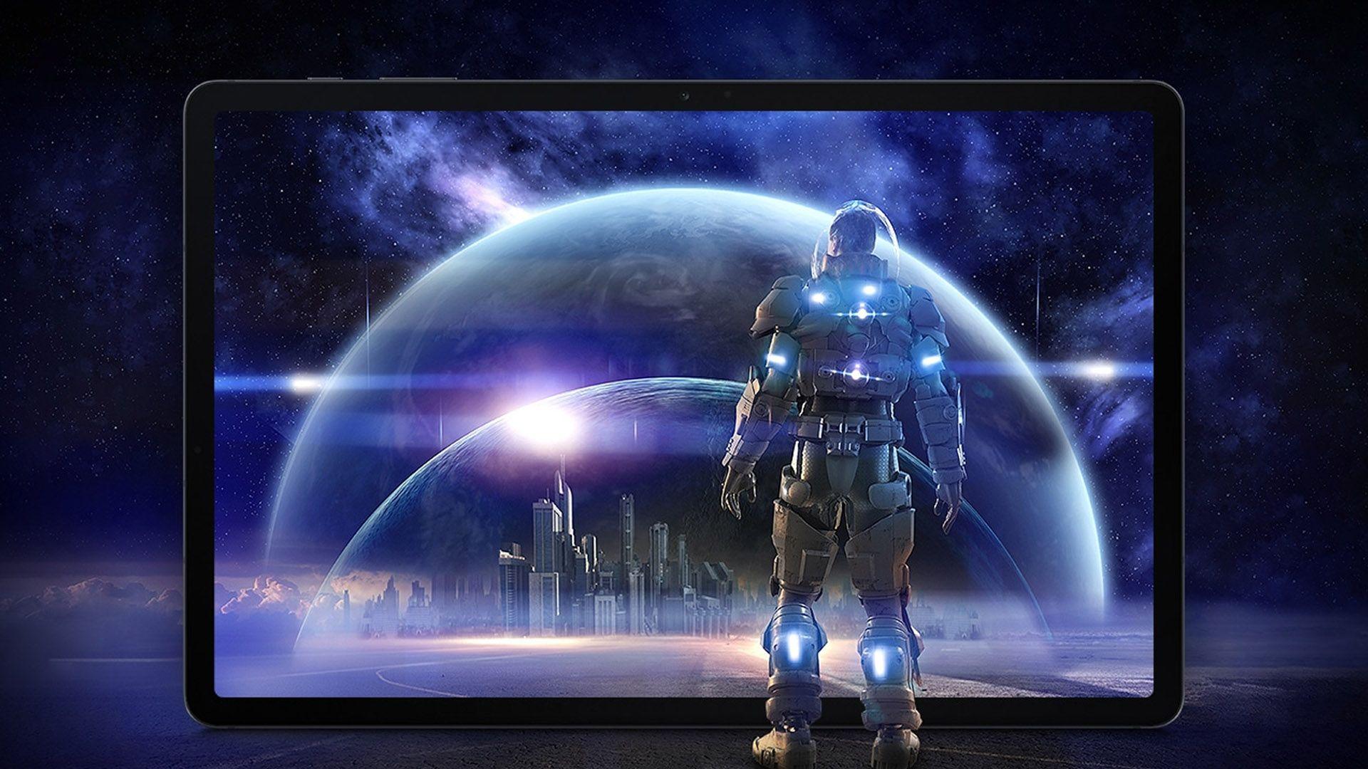 Personagem de jogo olhando Galaxy Tab S7 FE com fundo de jogo futurista